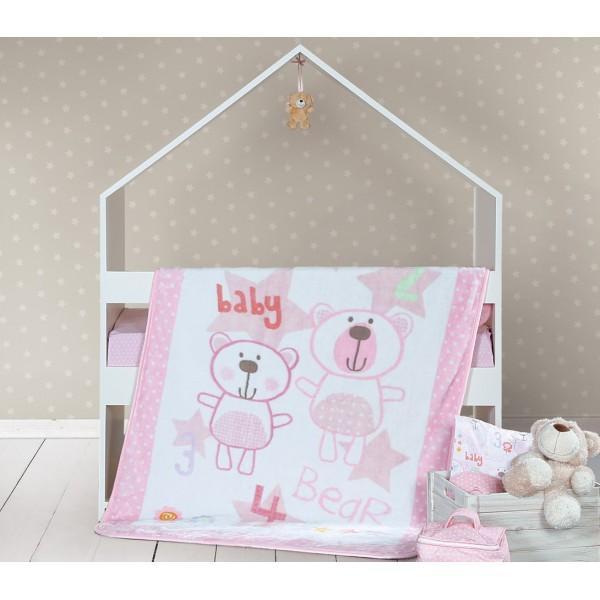 Κουβέρτα Βελουτέ Κούνιας Nef-Nef Baby Bears Pink