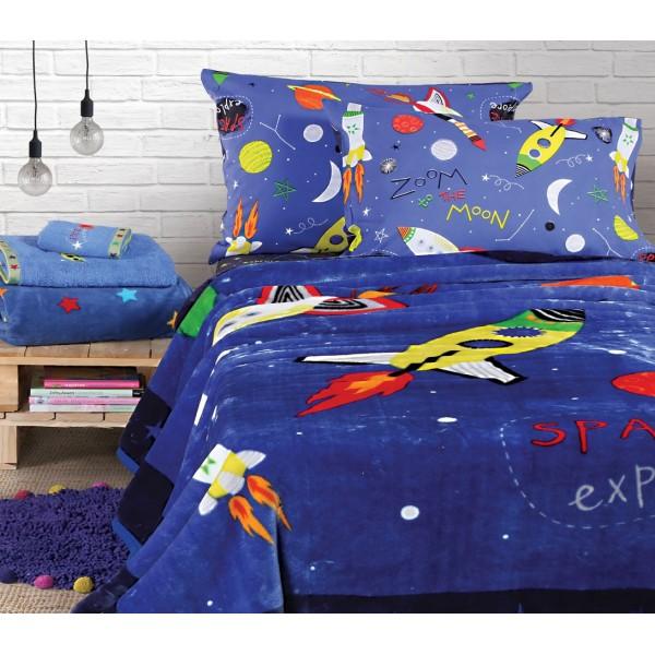 Κουβέρτα Βελουτέ Μονή Nef-Nef Kid Line Space Explore