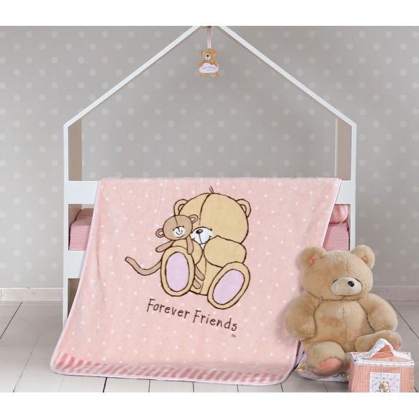 Κουβέρτα Βελουτέ Κούνιας Nef-Nef Baby FF Big Hugs Pink