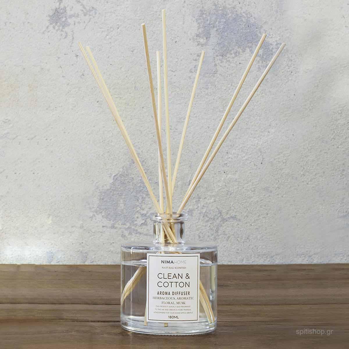 Αρωματικό Χώρου 180ml Με Στικς Nima Aroma Clean & Cotton