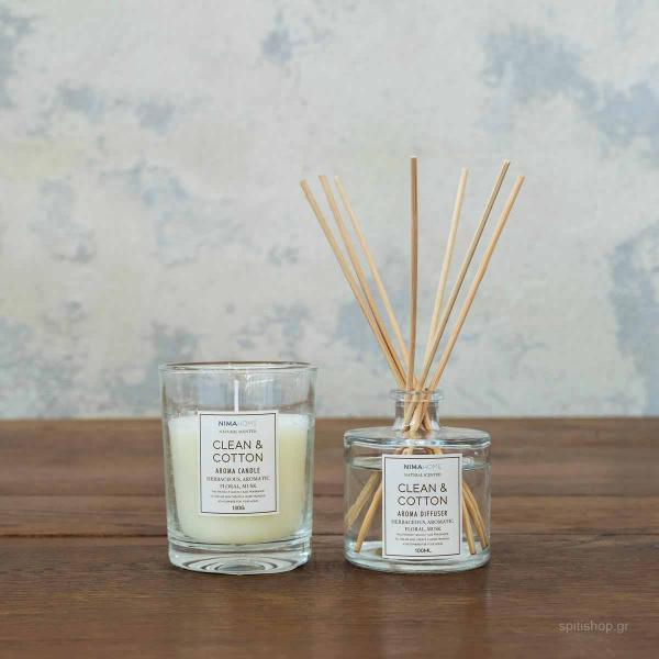 Αρωματικό Χώρου Με Στικς + Αρωματικό Κερί Nima Aroma Clean & Cotton