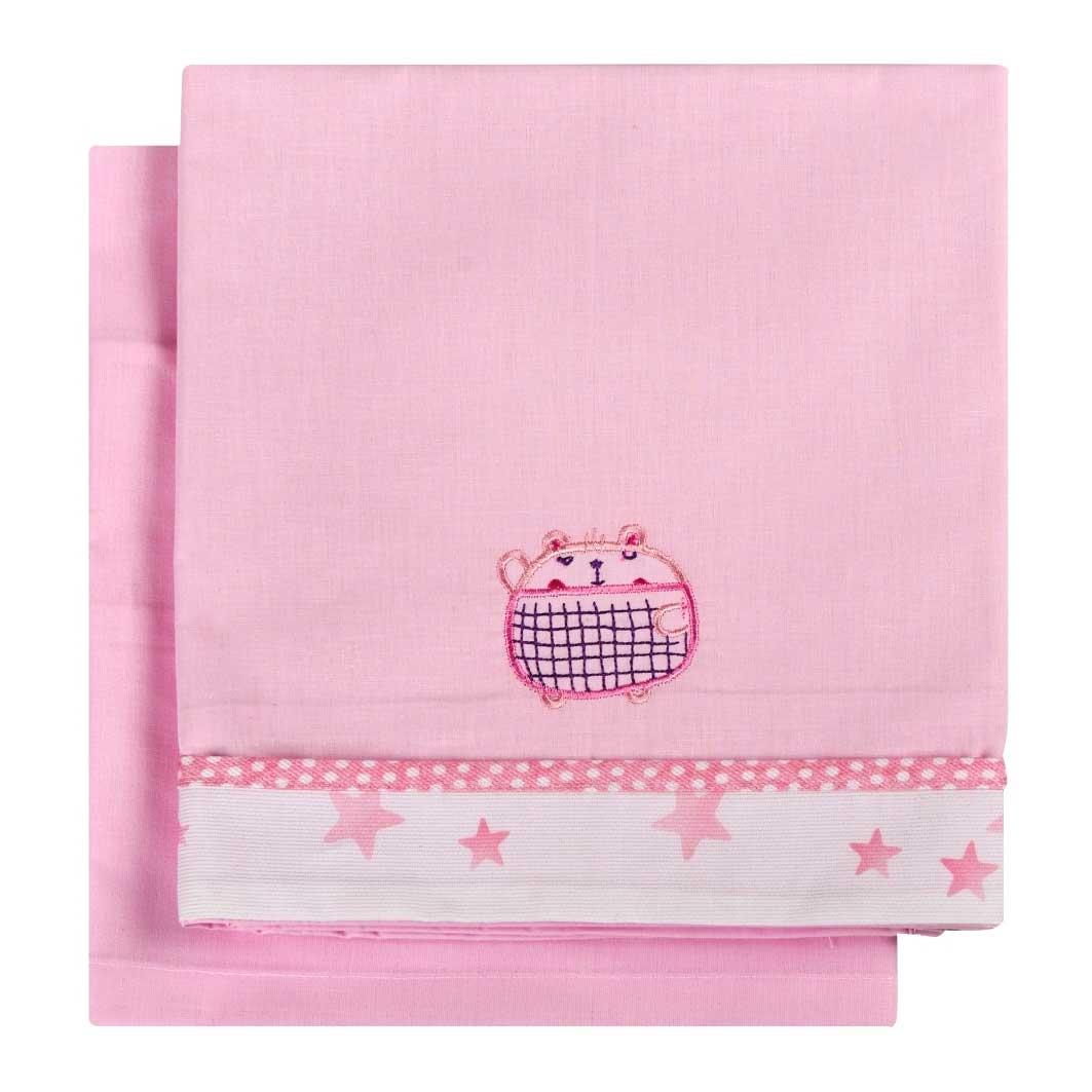 Σεντόνια Λίκνου (Σετ) Κόσμος Του Μωρού 0230 Bobos Ροζ
