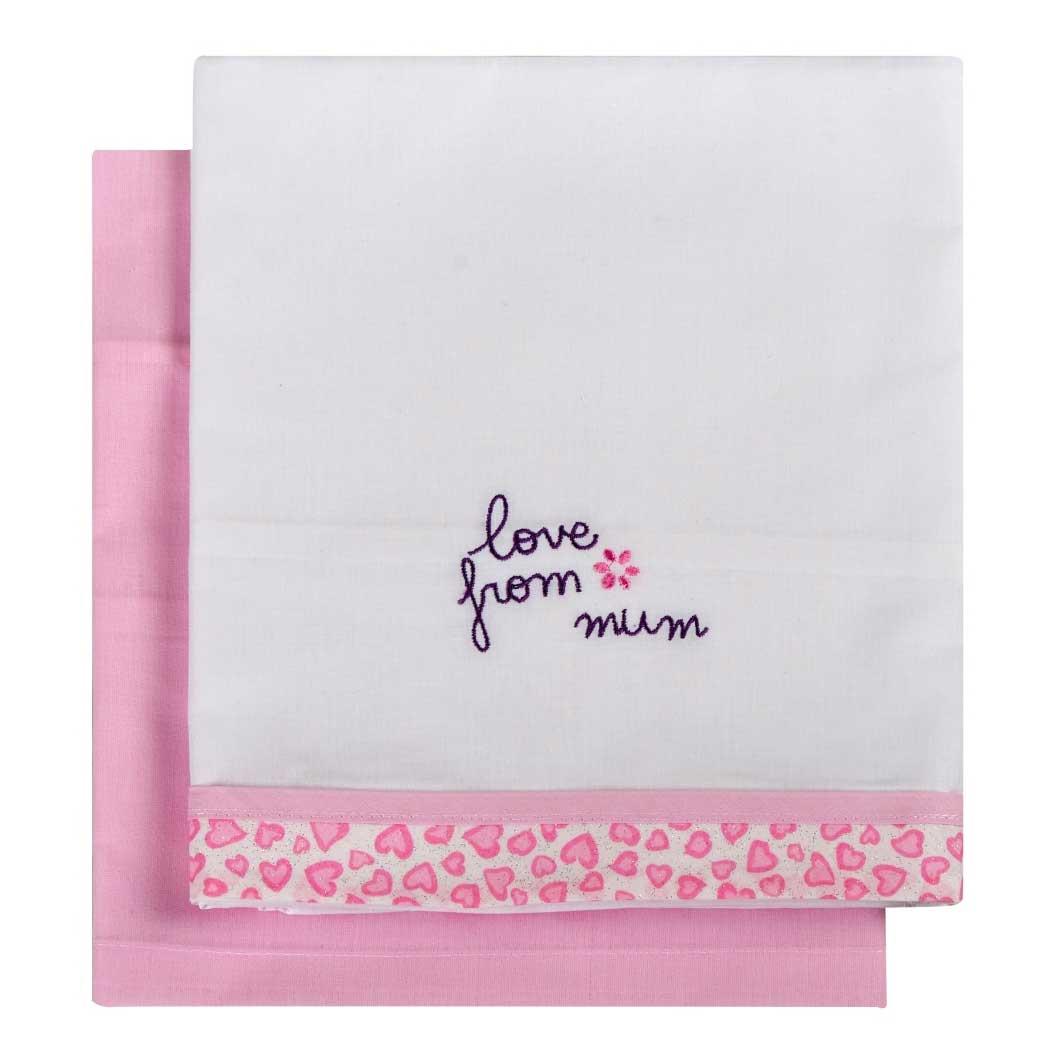 Σεντόνια Λίκνου (Σετ) Κόσμος Του Μωρού 0230 Love From Mum Ροζ