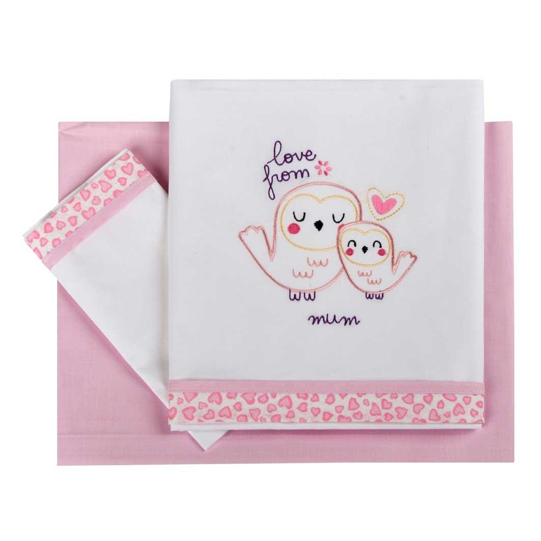 Σεντόνια Κούνιας (Σετ) Κόσμος Του Μωρού 0250 Love From Mum Ροζ