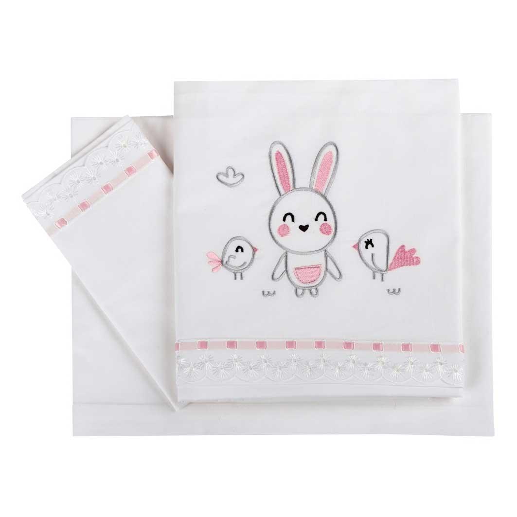 Σεντόνια Κούνιας (Σετ) Κόσμος Του Μωρού 0260 Birdy Bunny Ροζ