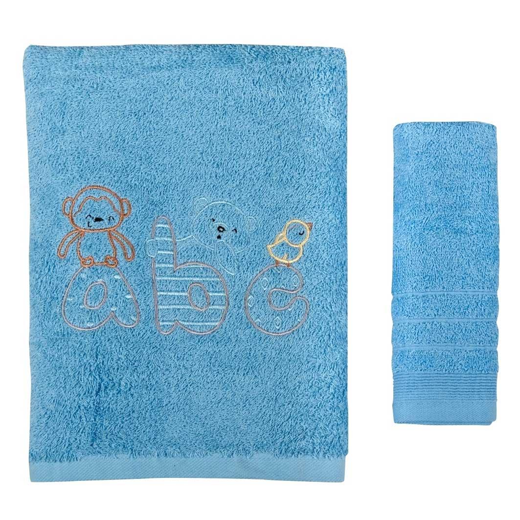 Βρεφικές Πετσέτες (Σετ 2τμχ) Κόσμος Του Μωρού 0502 ABC Σιέλ