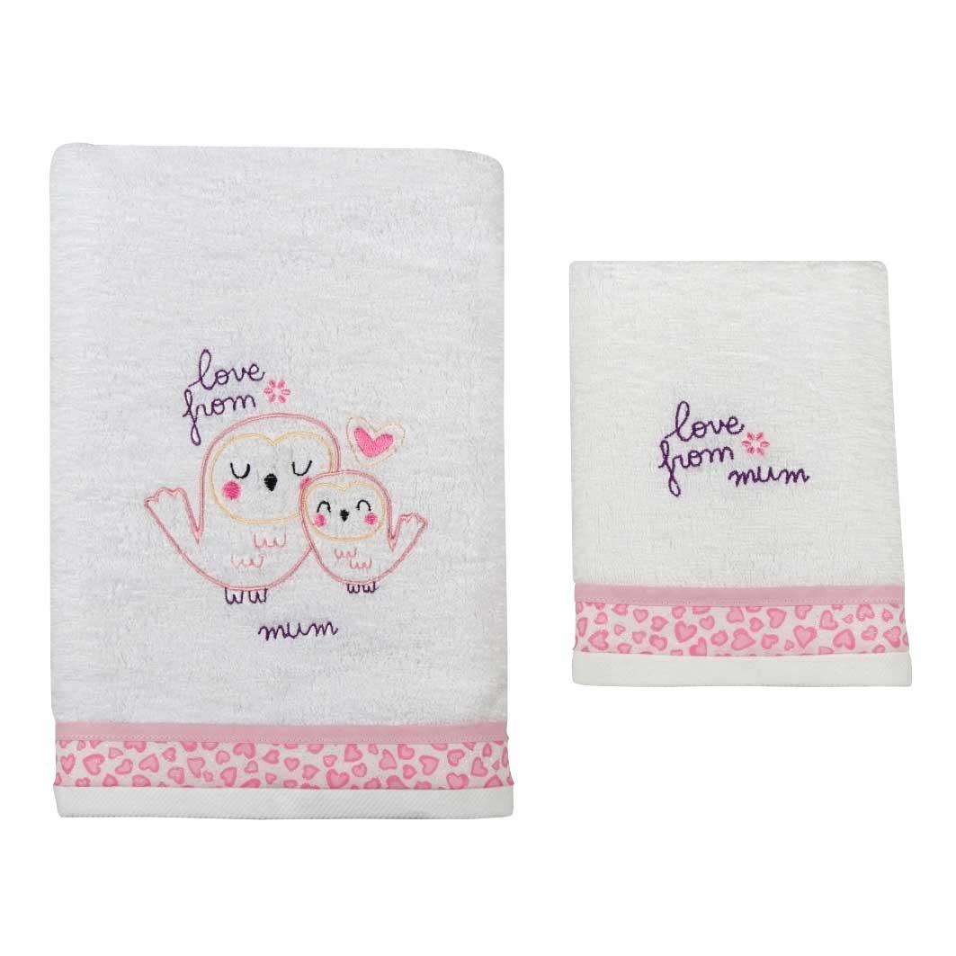 Βρεφικές Πετσέτες (Σετ 2τμχ) Κόσμος Του Μωρού 0550 Love From Mum Ροζ