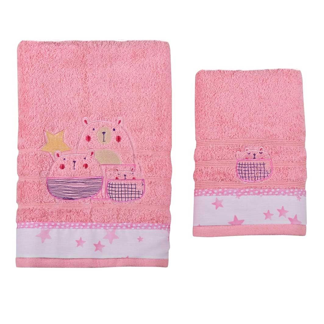 Βρεφικές Πετσέτες (Σετ 2τμχ) Κόσμος Του Μωρού 0590 Bobos Ροζ