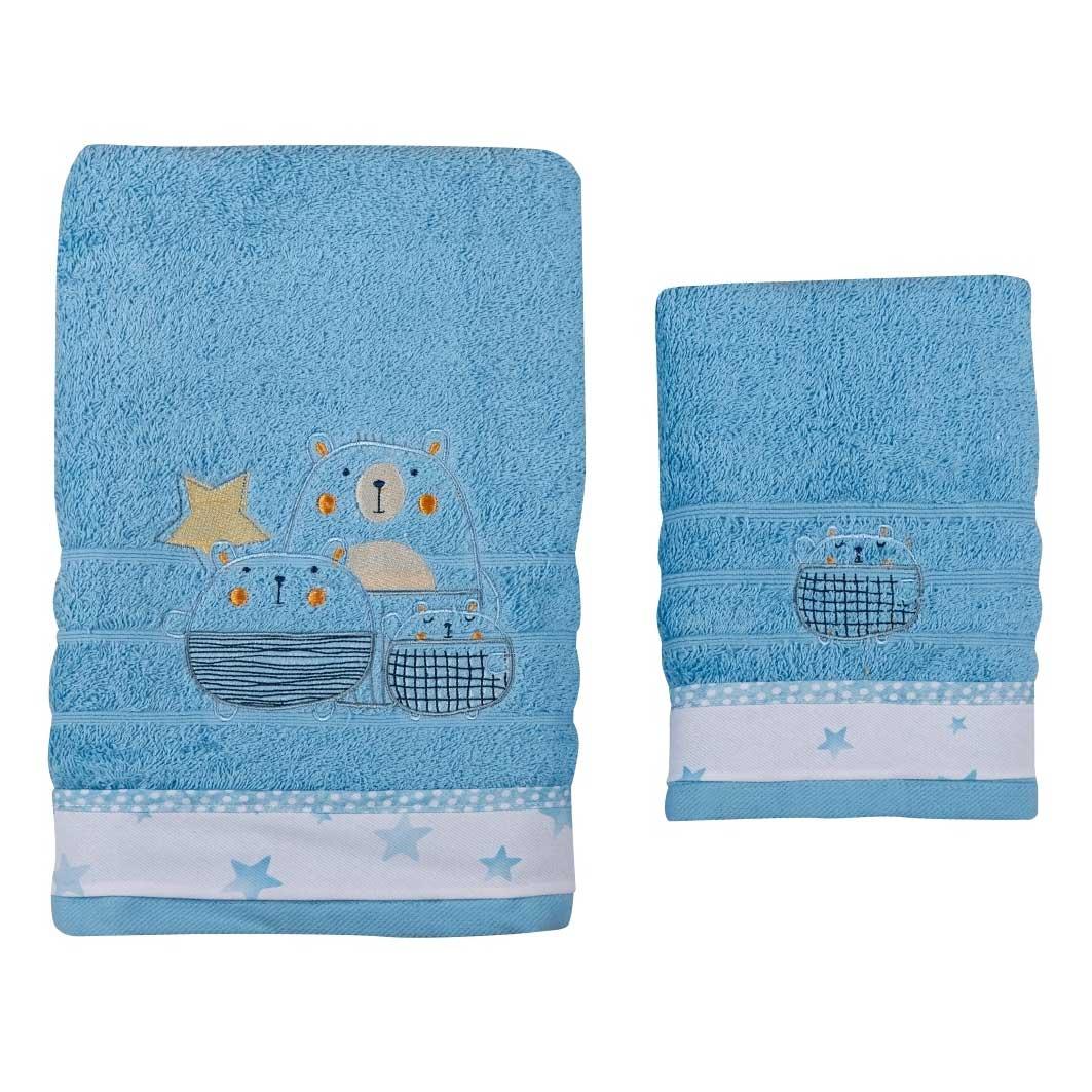 Βρεφικές Πετσέτες (Σετ 2τμχ) Κόσμος Του Μωρού 0590 Bobos Σιέλ
