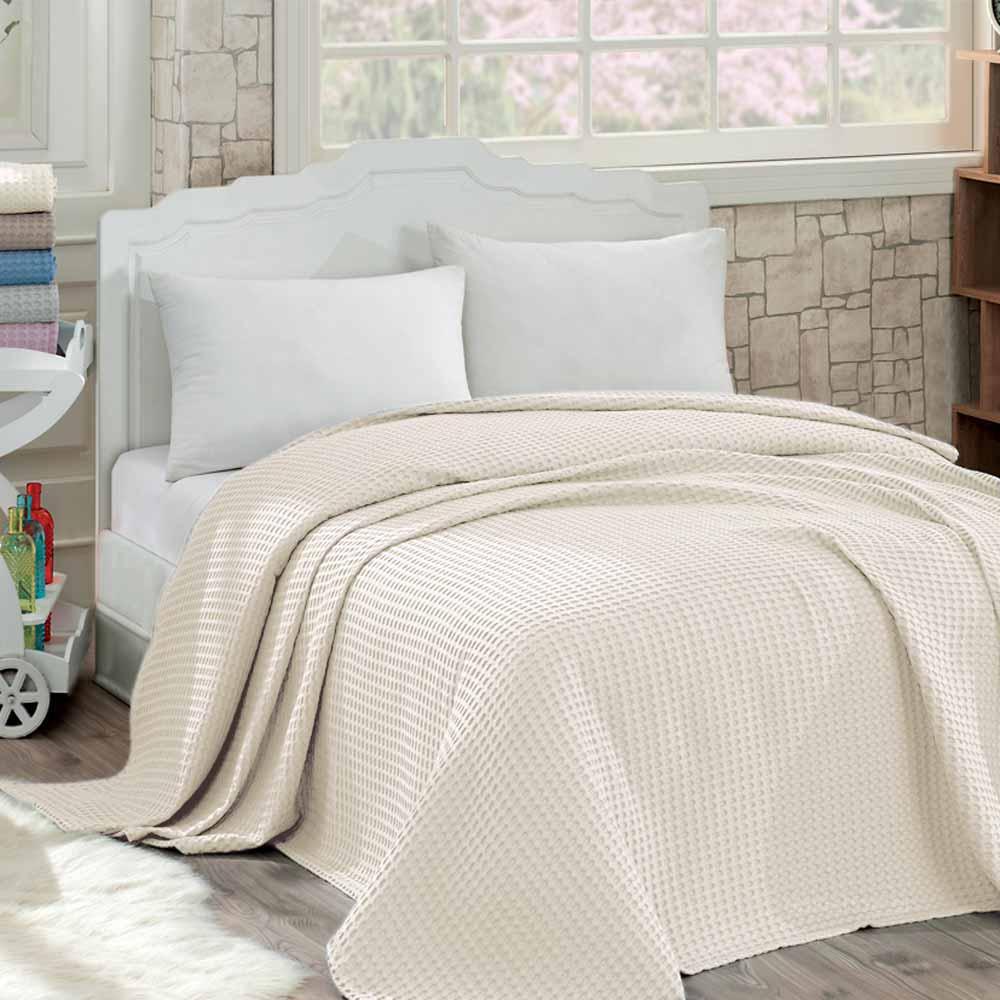 Κουβέρτα Πικέ Μονή Sb Home Waffle Ivory