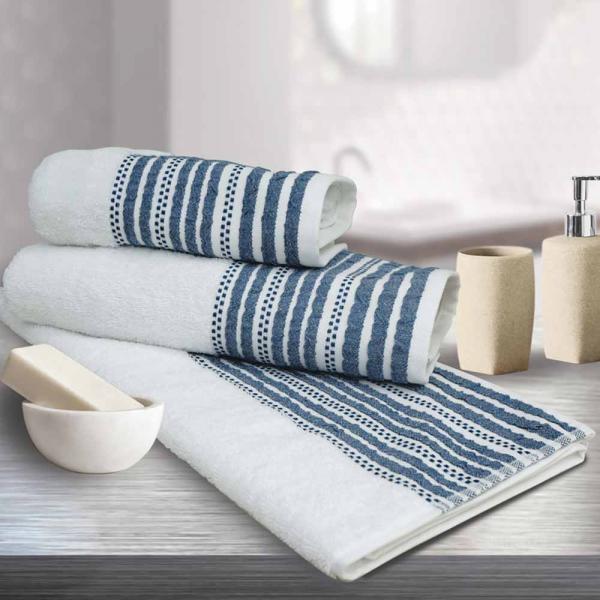 Πετσέτες Προσώπου (Σετ 2τμχ) Sb Home Romina Navy