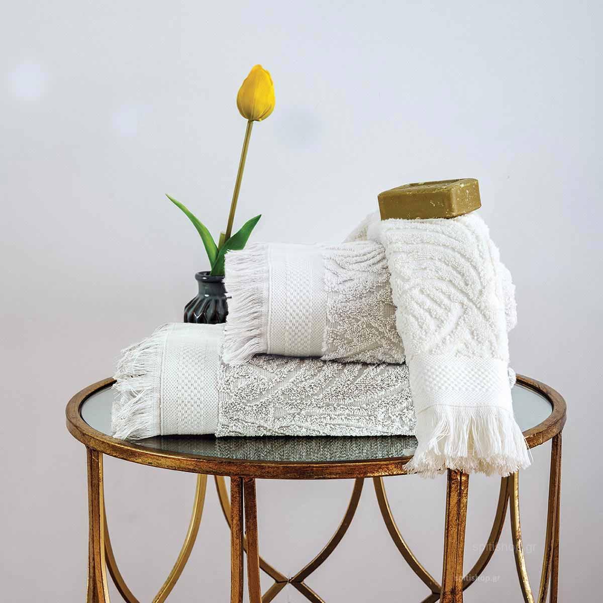 Πετσέτες Μπάνιου (Σετ 3τμχ) Sb Home Celine Ivory