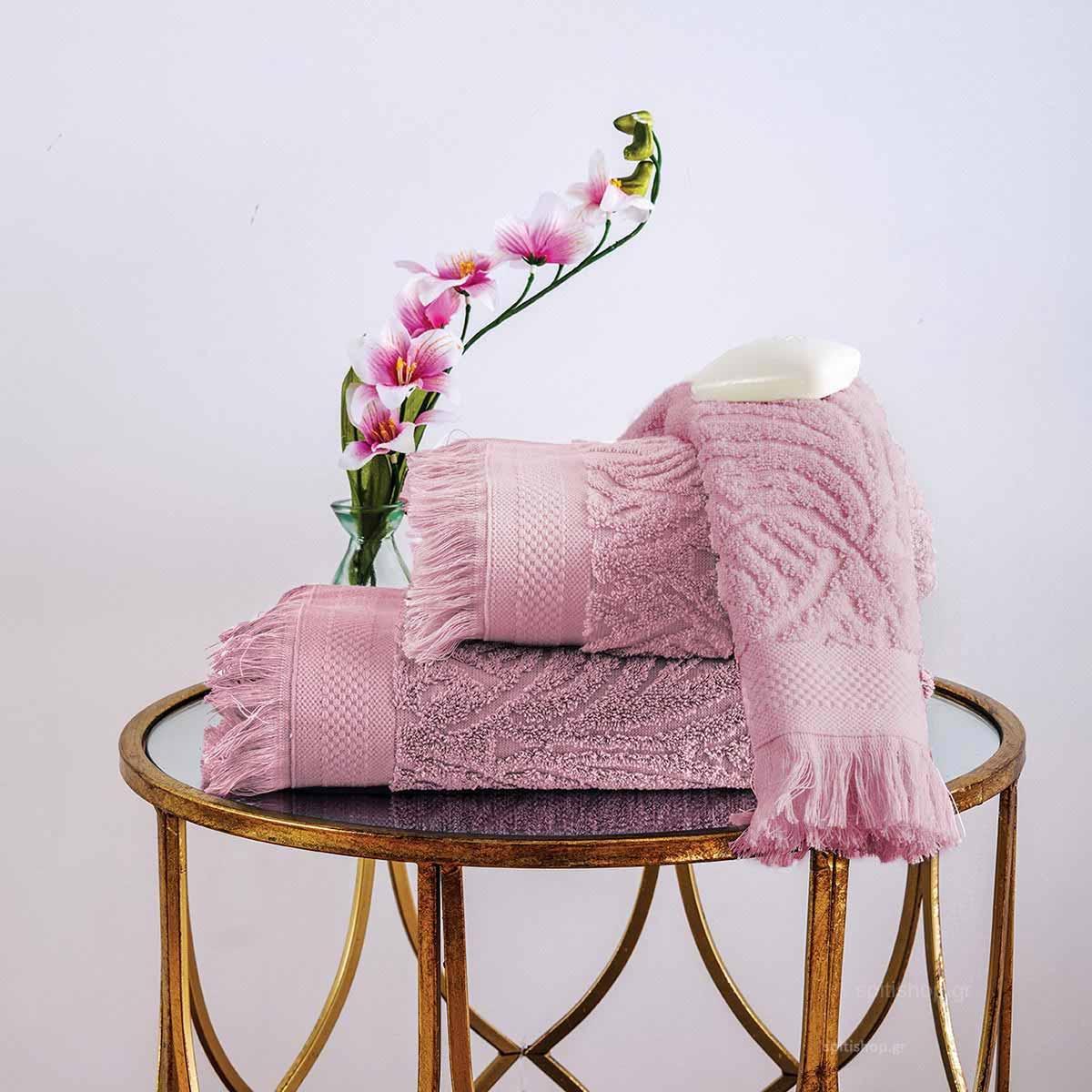 Πετσέτες Μπάνιου (Σετ 3τμχ) Sb Home Celine Dusty Pink