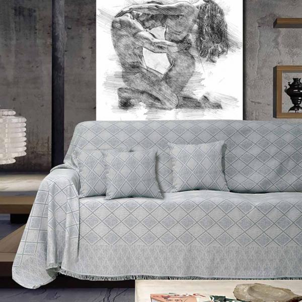 Ριχτάρι Τριθέσιου (180x300) Sb Home Kasandra Silver