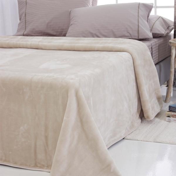 Κουβέρτα Βελουτέ Υπέρδιπλη Sb Home Tyrol Almond