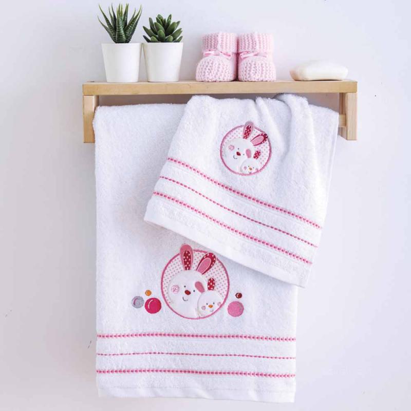 Βρεφικές Πετσέτες (Σετ 2τμχ) Sb Home Baby Lapin Pink