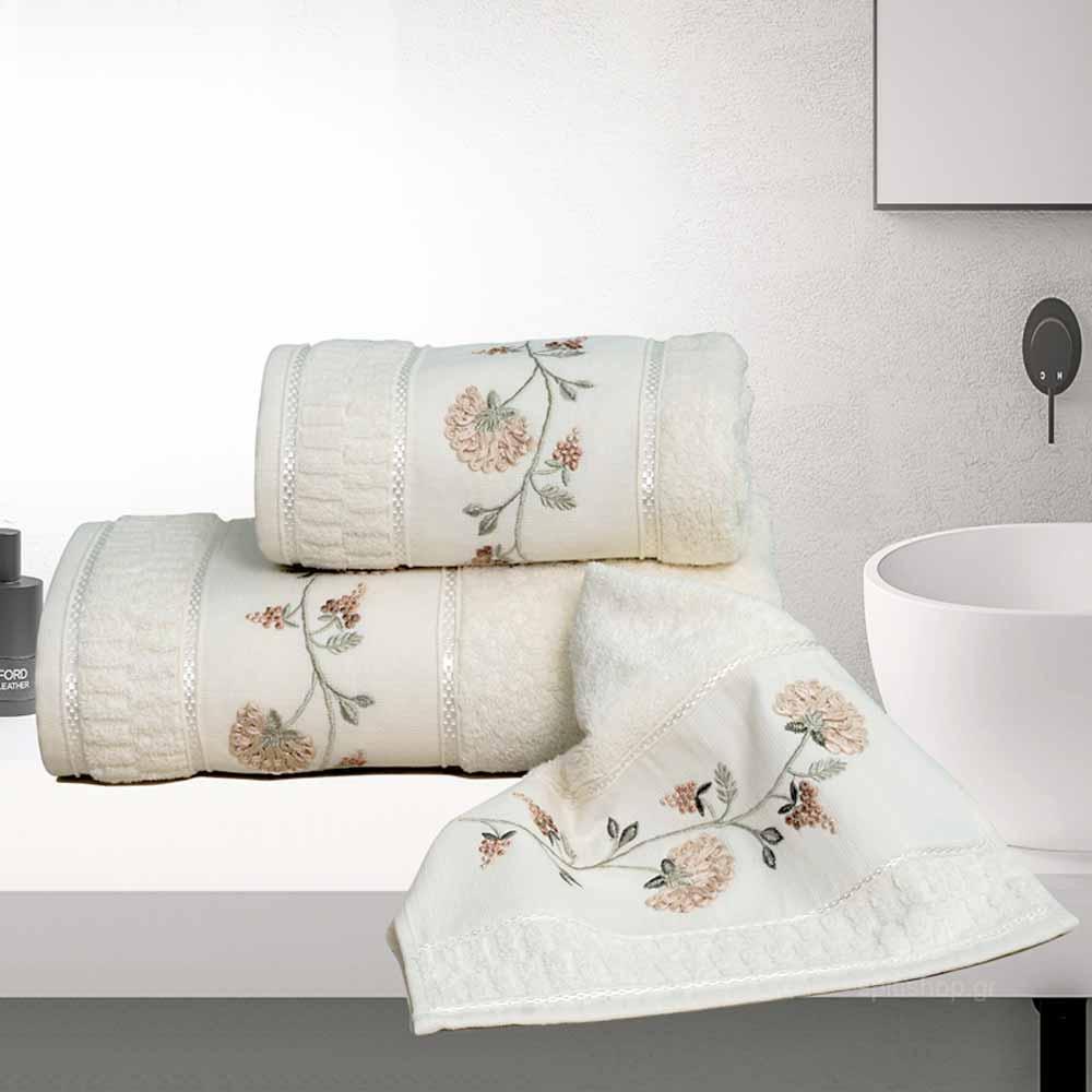 Πετσέτες Μπάνιου (Σετ 3τμχ) Sb Home Cynthia Beige