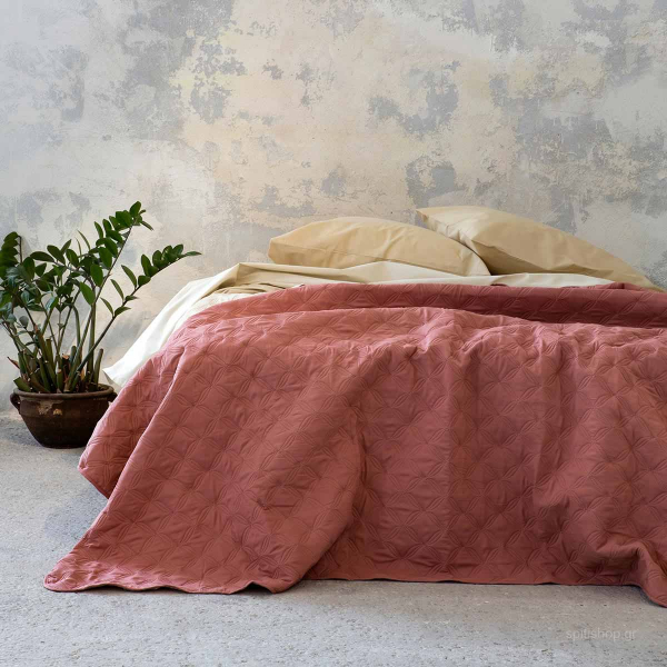 Κουβερλί King Size 2 Όψεων Nima Bed Linen Cuento Tan