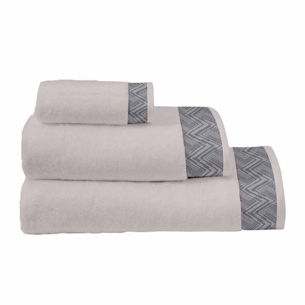 Πετσέτες Μπάνιου (Σετ 3τμχ) Makis Tselios Waves Grey