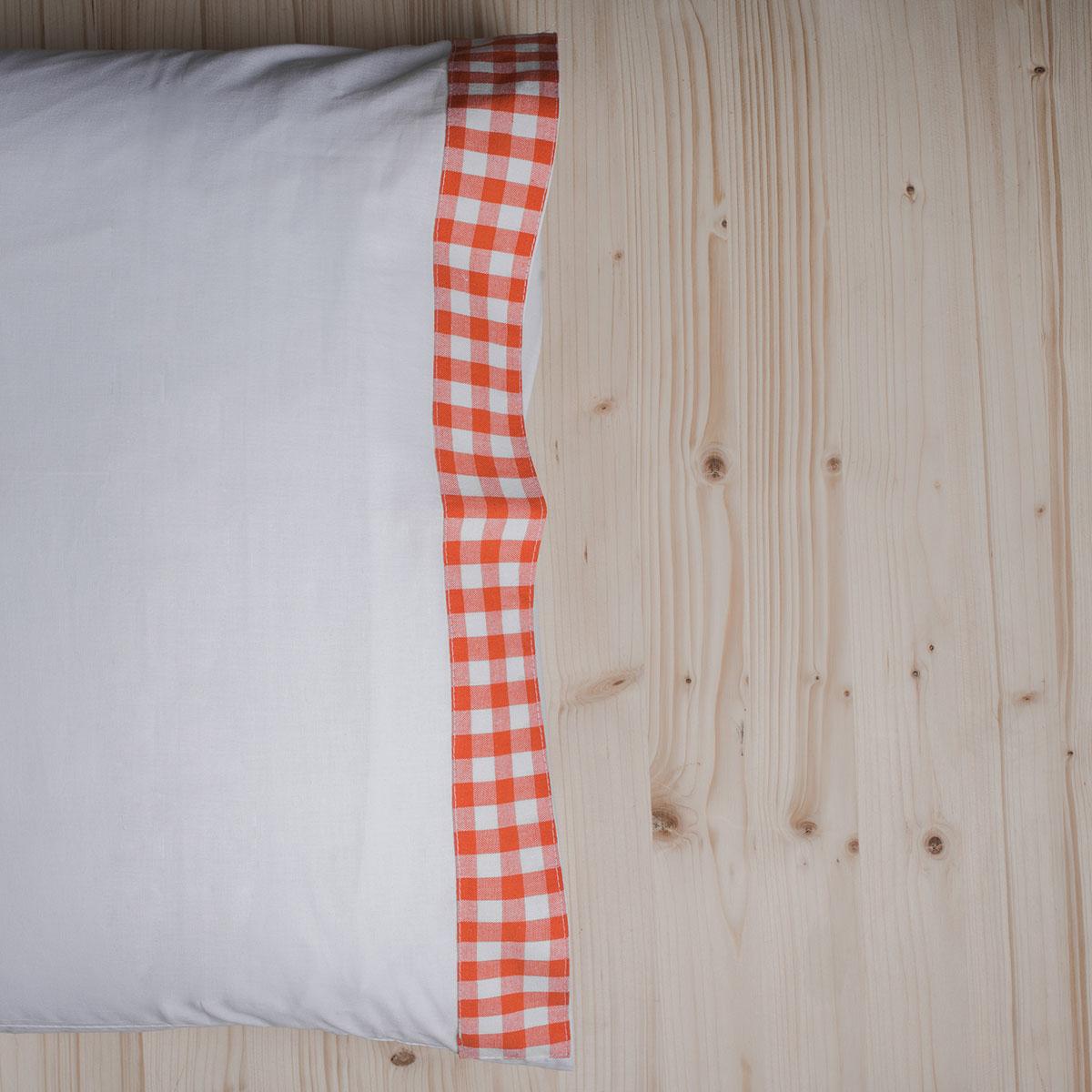 Ζεύγος Μαξιλαροθήκες White Fabric Gingham Orange