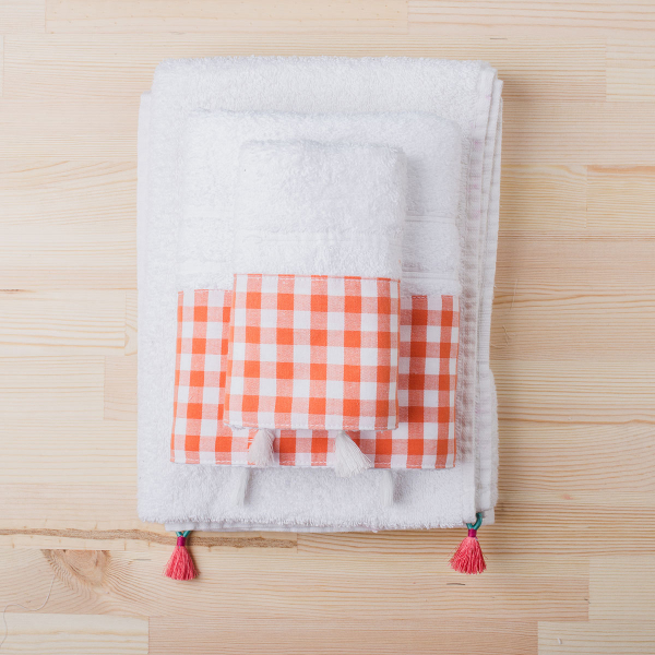 Πετσέτα Χεριών (30x50) White Fabric Gingham Orange