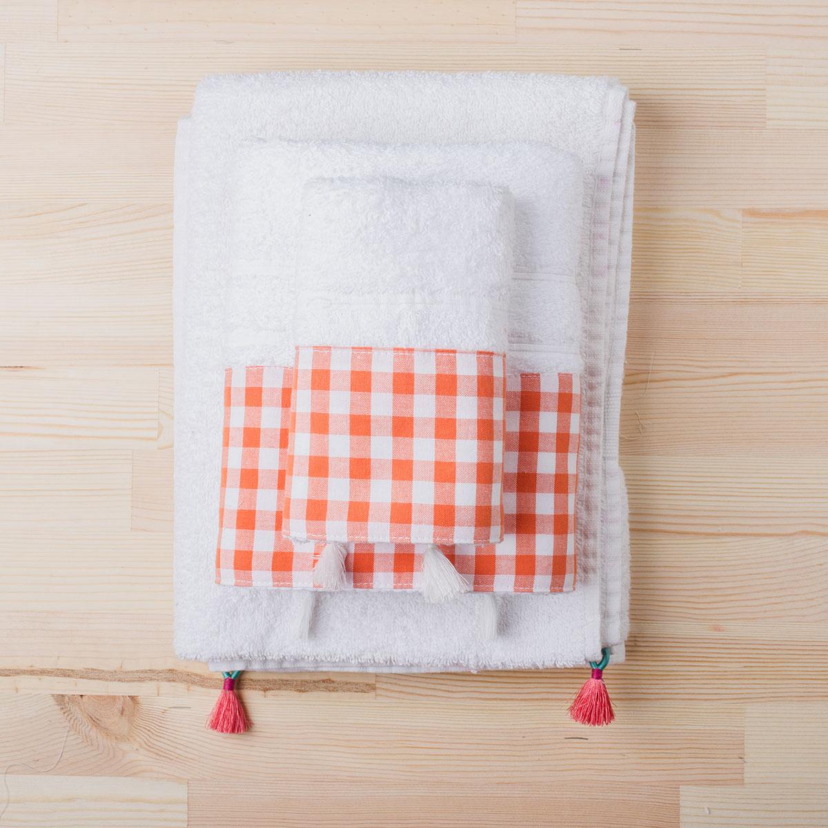 Πετσέτα Χεριών (30×50) White Fabric Gingham Orange