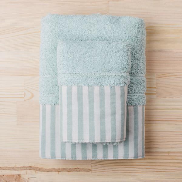Πετσέτα Χεριών (30x50) White Fabric Stripy Mint