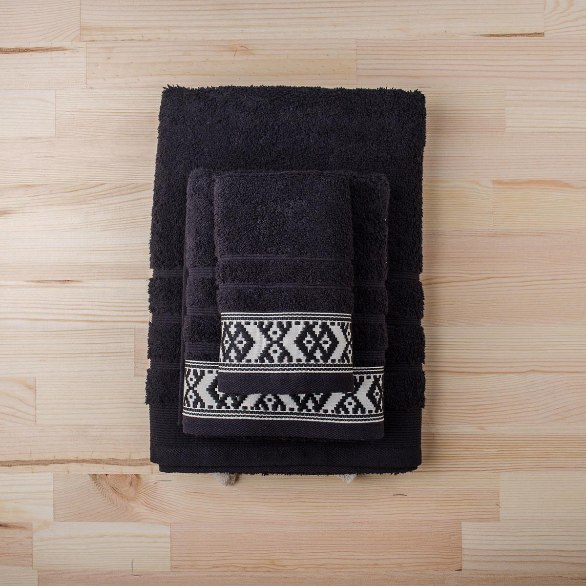 Πετσέτα Προσώπου (50×90) White Fabric Maribelle Black
