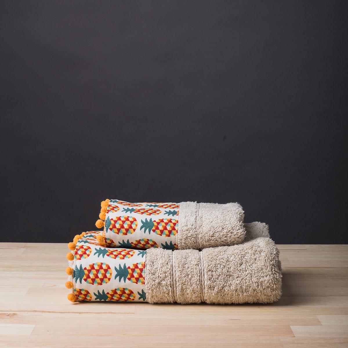Πετσέτα Προσώπου (50×90) White Fabric Pineapple Ecru