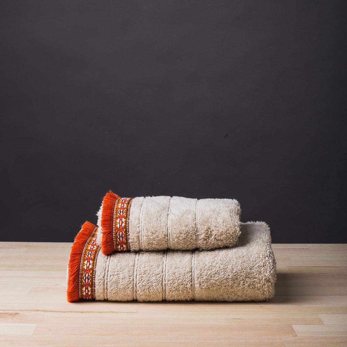 Πετσέτα Προσώπου (50×90) White Fabric Indigo Ecru