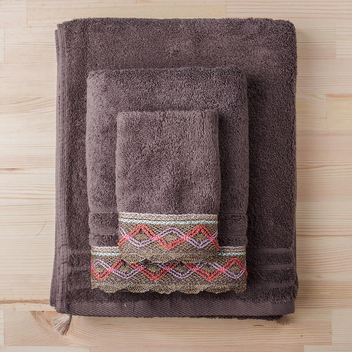 Πετσέτα Προσώπου (50×90) White Fabric Kali Beige