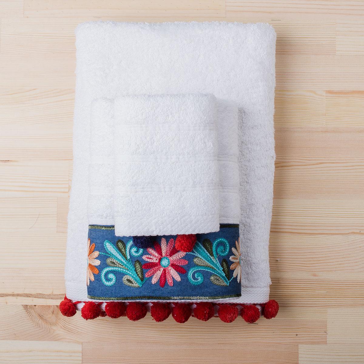 Πετσέτες Μπάνιου (Σετ 3τμχ) White Fabric Nadine White