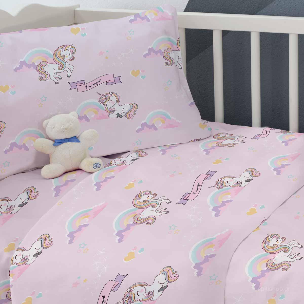 Σεντόνια Κούνιας (Σετ) Makis Tselios Baby Unicorn
