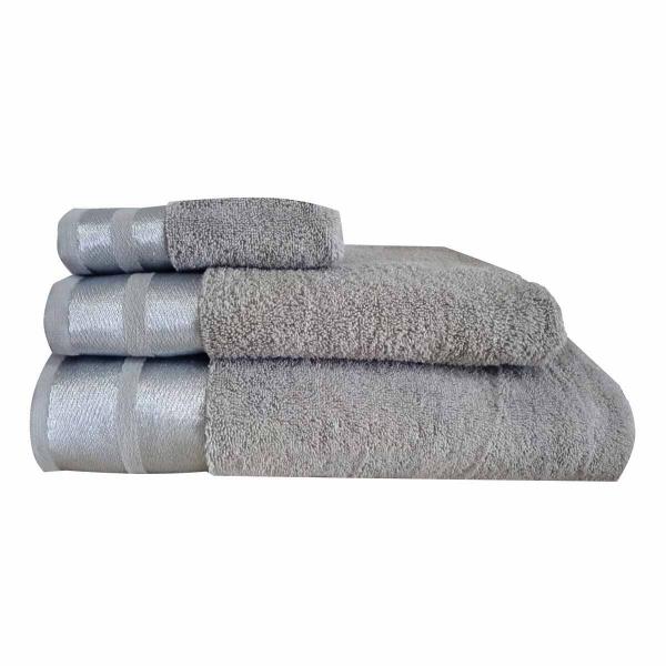Πετσέτες Μπάνιου (Σετ 3τμχ) Makis Tselios Ice Ασημί