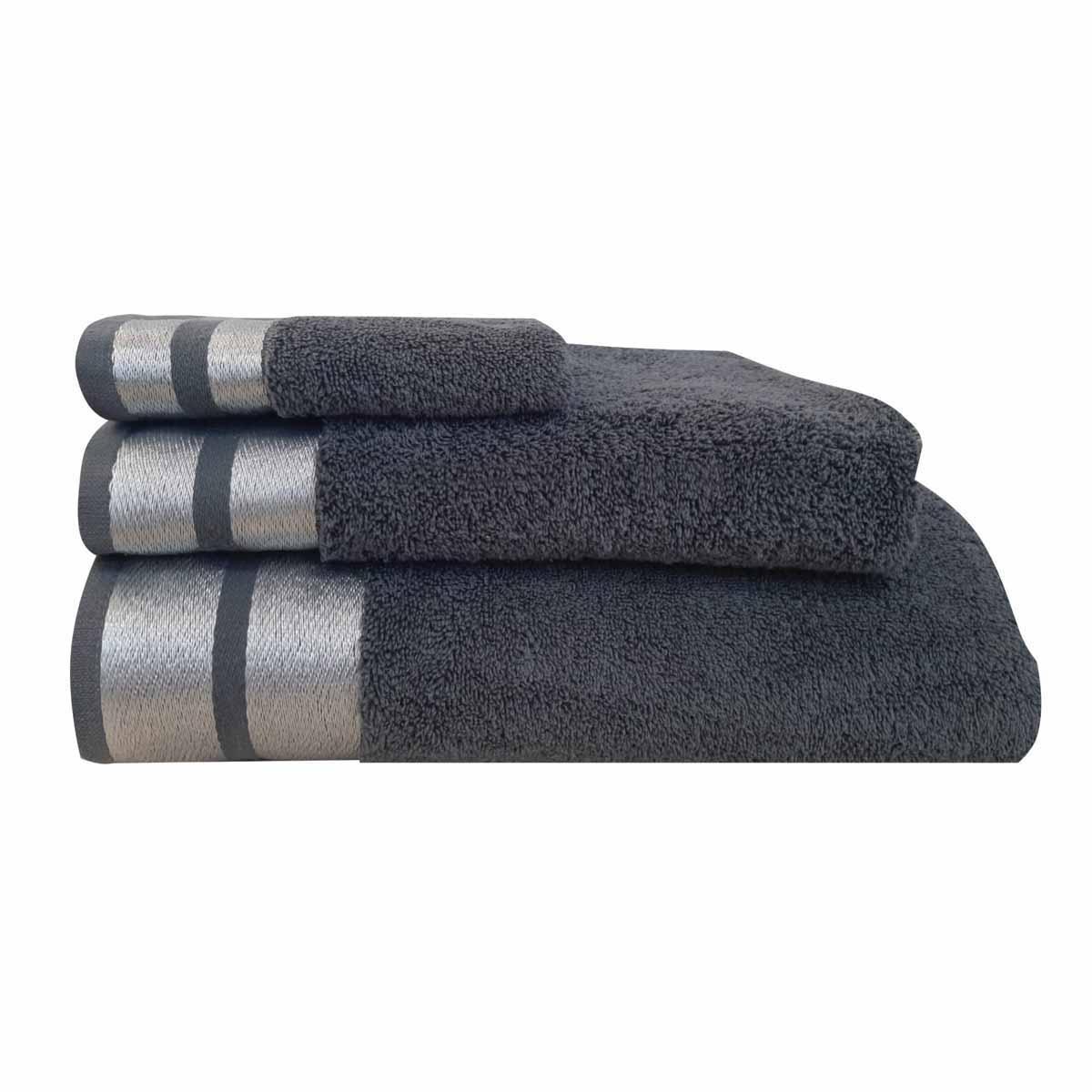 Πετσέτες Μπάνιου (Σετ 3τμχ) Makis Tselios Ice Ανθρακί