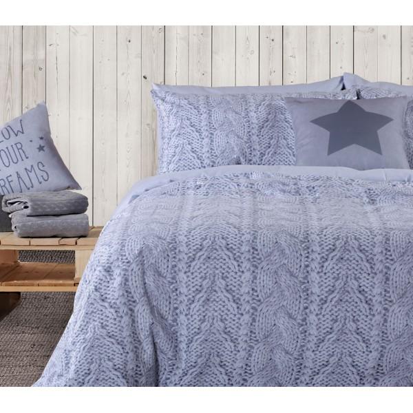 Φανελένια Σεντόνια Υπέρδιπλα (Σετ) Nef-Nef Knit Grey