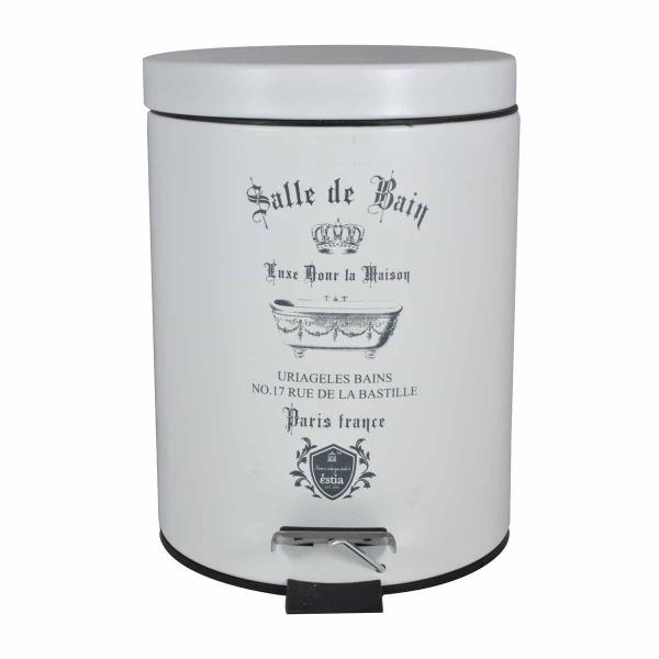 Κάδος Απορριμμάτων (20x28) Estia 5Lit Le Bain White Matt 02-4620