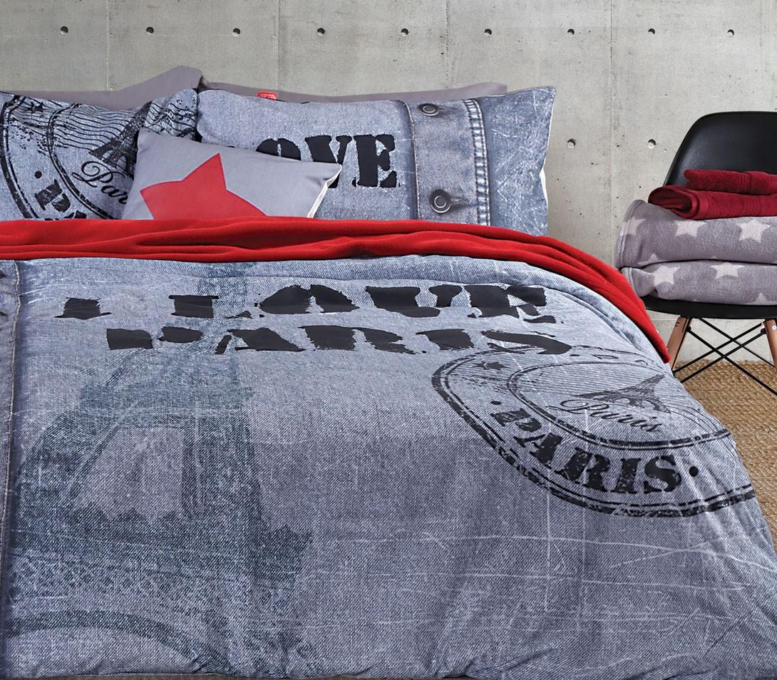 Παπλωματοθήκη Υπέρδιπλη (Σετ) Nef-Nef Premium Love Paris