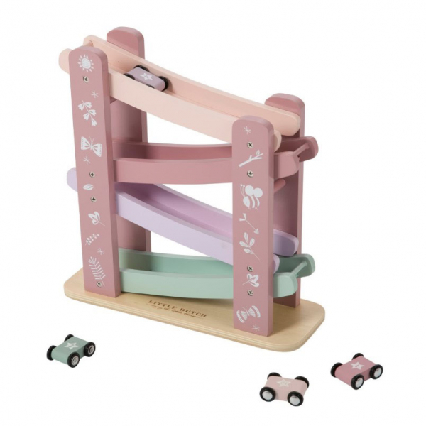 Ξύλινο Παιχνίδι Little Dutch Πίστα Με Αυτοκινητάκια Adventure Pink LD4374