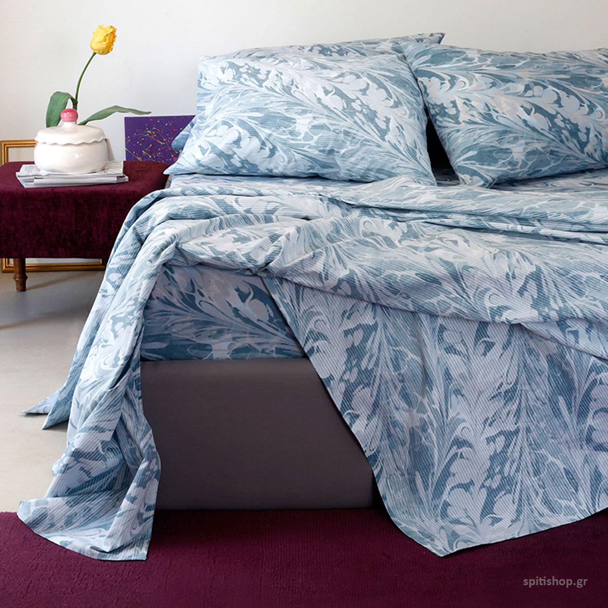 Σεντόνια King Size (Σετ) Melinen Ultra Brooks Blue ΧΩΡΙΣ ΛΑΣΤΙΧΟ 260×270 ΧΩΡΙΣ ΛΑΣΤΙΧΟ 260×270