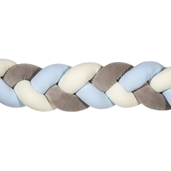 Πάντα Κούνιας - Πλεξούδα 140cm Mother Touch Nany Λευκό-Γαλάζιο-Γκρι