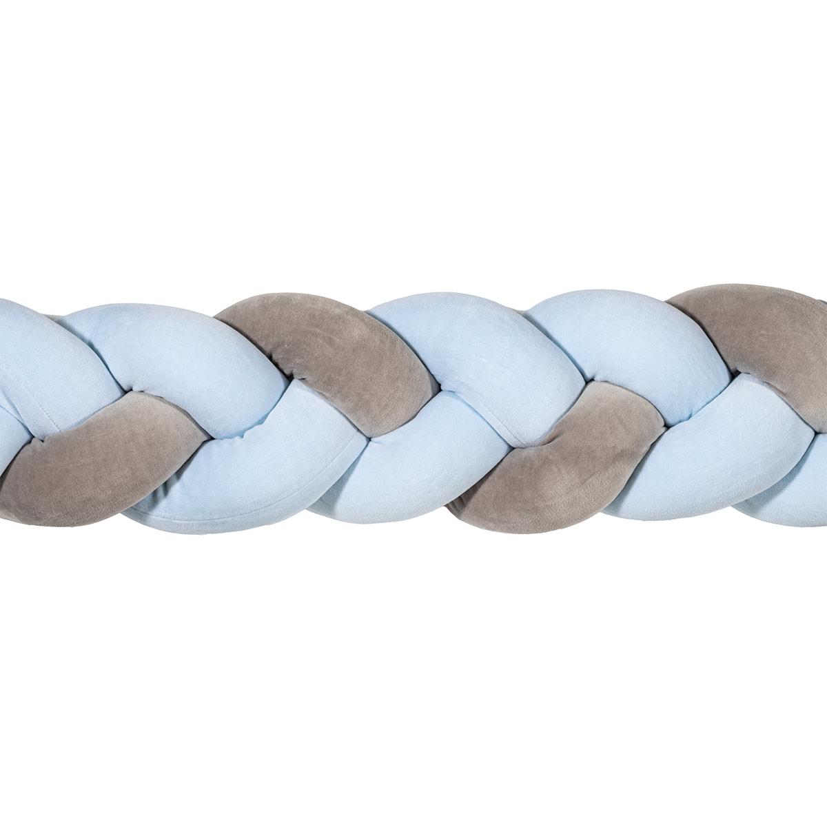 Πάντα Κούνιας – Πλεξούδα 220cm Mother Touch Nany Γκρι-Γαλάζιο
