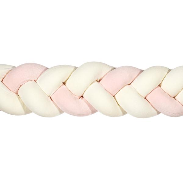Πάντα Κούνιας - Πλεξούδα 220cm Mother Touch Nany Λευκό-Ροζ