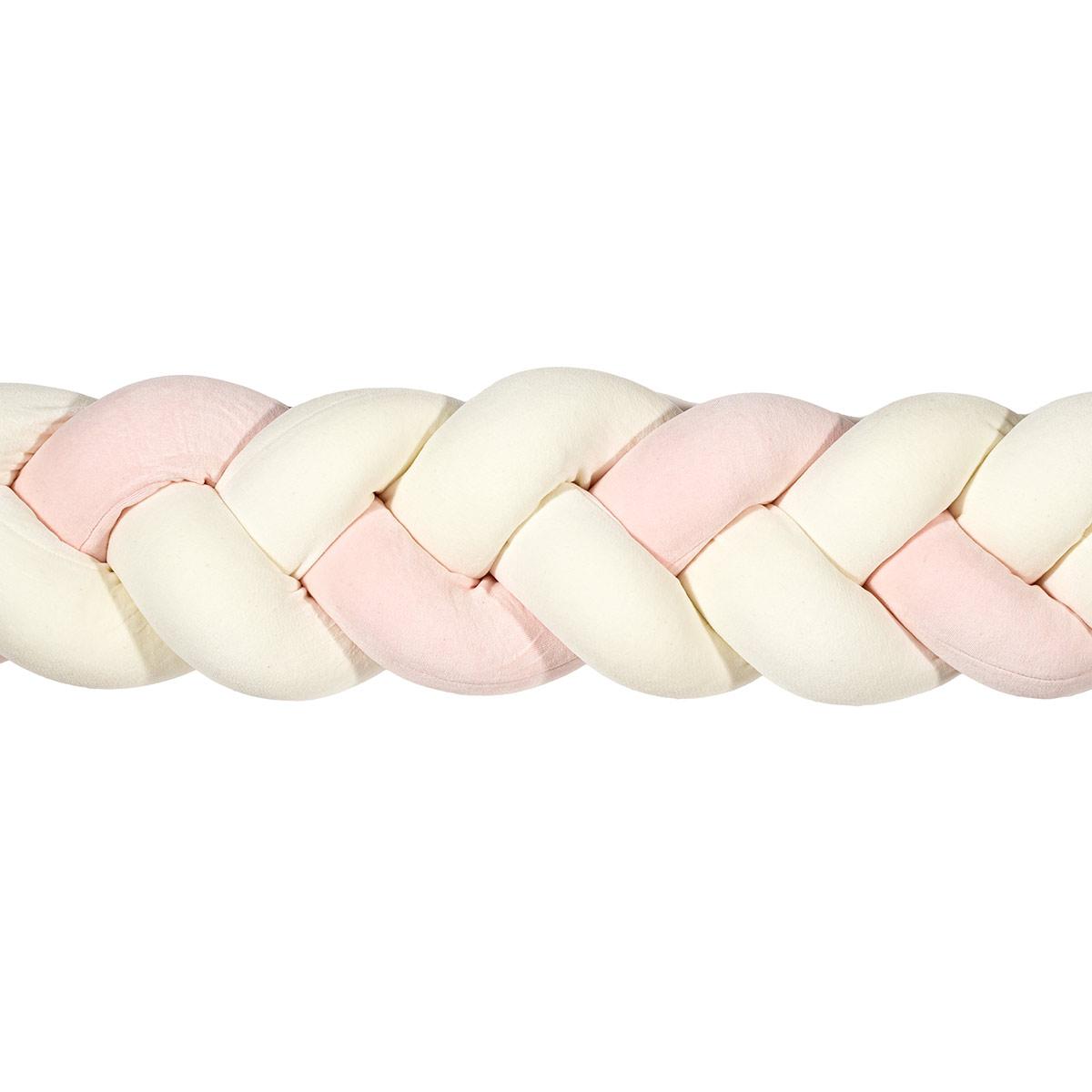 Πάντα Κούνιας – Πλεξούδα 220cm Mother Touch Nany Λευκό-Ροζ