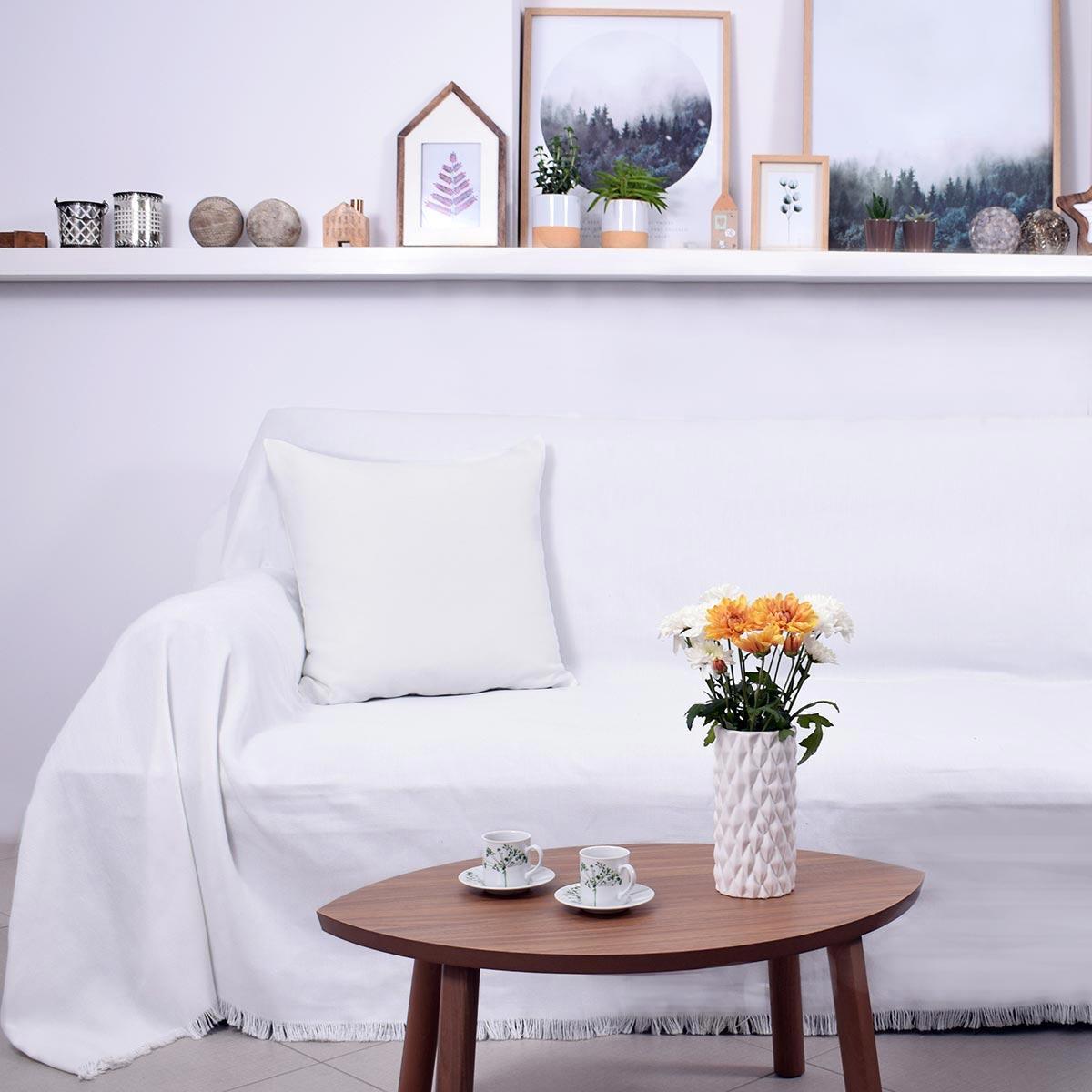 Ριχτάρι Τριθέσιου (180×300) Ravelia Pure White