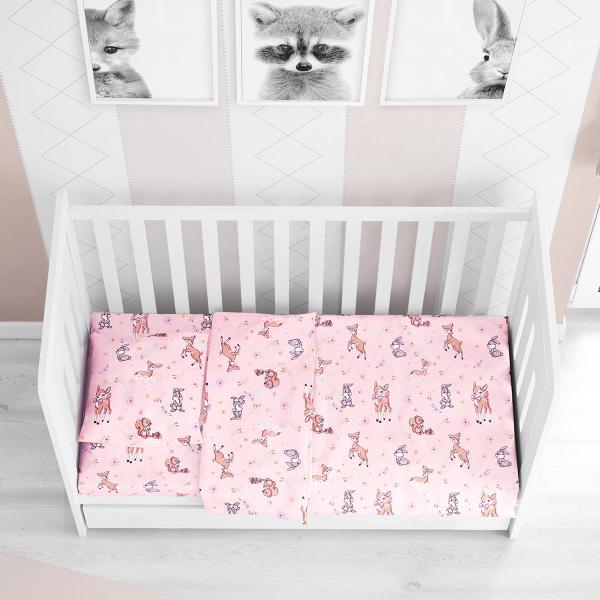 Σεντόνια Κούνιας (Σετ) Dimcol Ελαφάκι 117 Pink