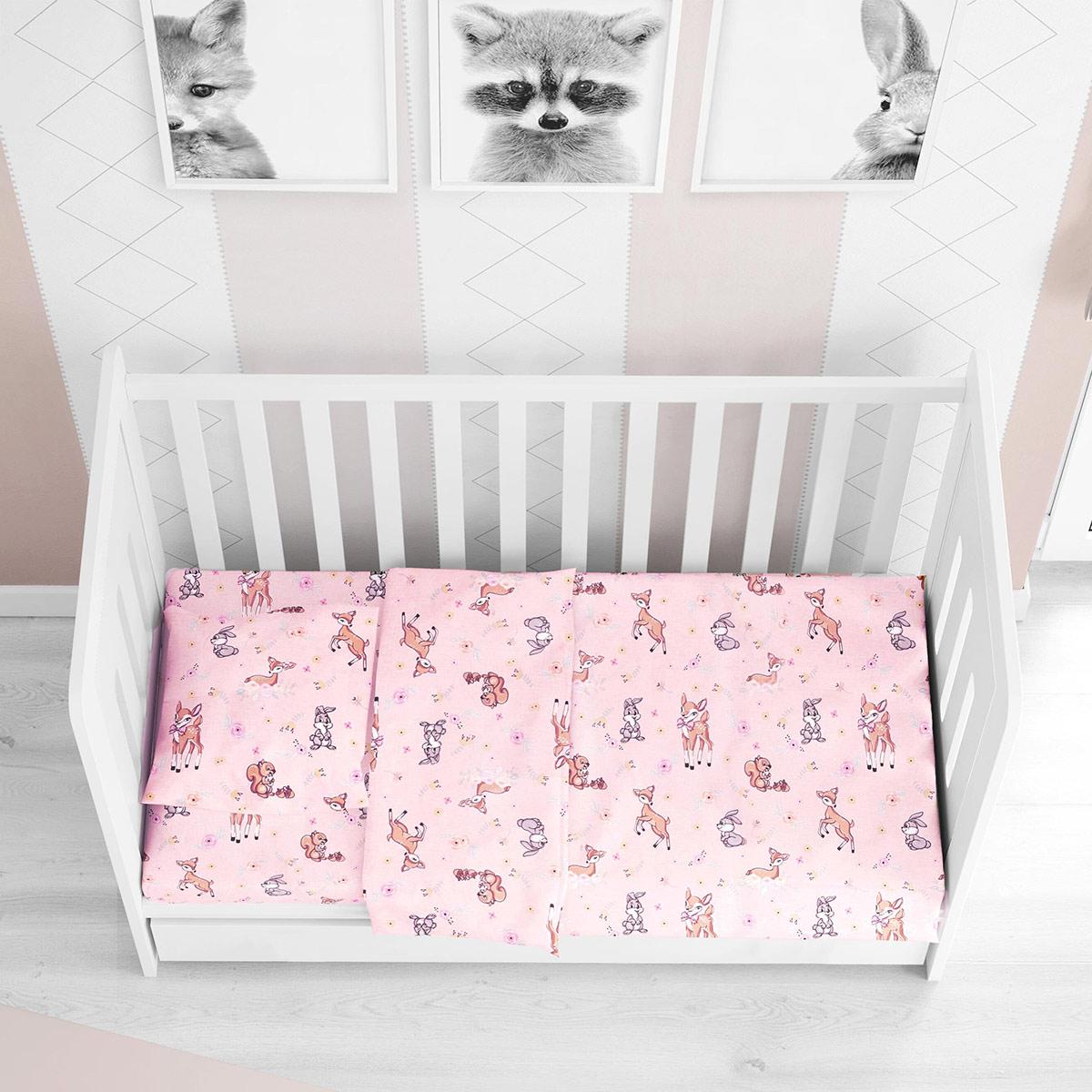 Παπλωματοθήκη Κούνιας Dimcol Ελαφάκι 117 Pink