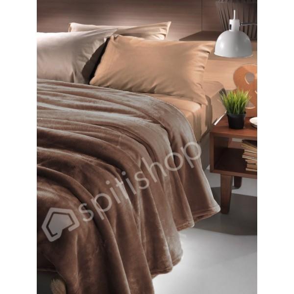 Κουβέρτα Fleece Μονή Nima Loafer Brownie