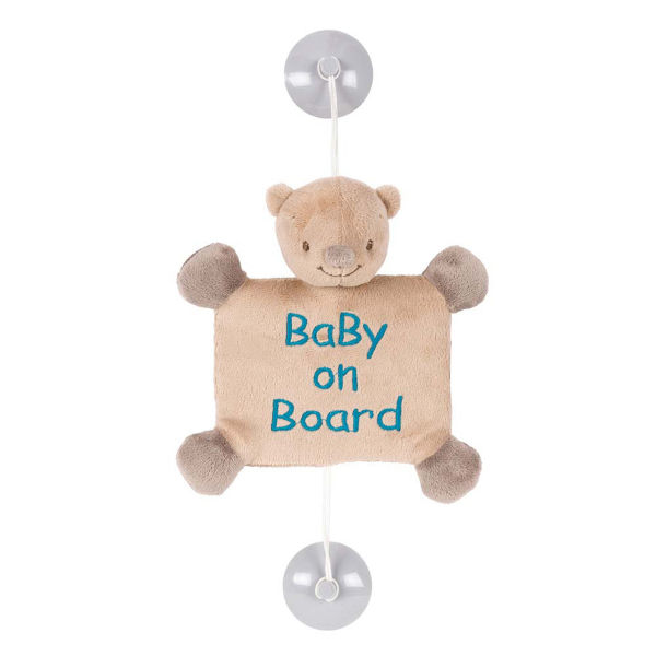 Σήμα Αυτοκινήτου Baby On Board με Βεντούζα Nattou Mia & Basil Αρκουδάκι Basile