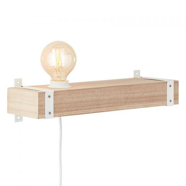 Απλίκα/Ράφι Τοίχου Με Φις Πρίζας Brilliant White Wood HK18249S75 Natural